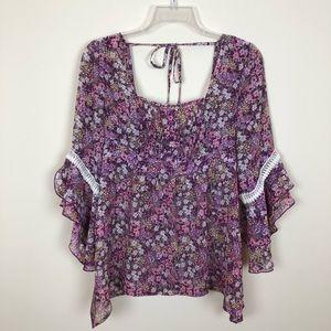 Purple Floral Bohemian Gypsy Hippy Top by Decree